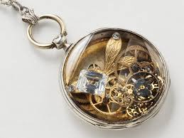 necklace locket images Steampunk locket necklace sterling silver pocket watch case with jpg