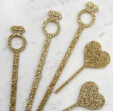 diamond ring drink stirrer gold swizzle sticks bridal shower