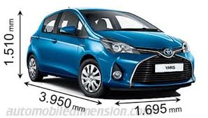 dimensions of toyota cars showing length width and height