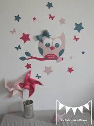 chambre hibou stickers hibou et ses 16 étoiles et papillons poudré bleu