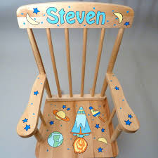 Childrens Rocking Chairs Personalized Personalized Hand Painted Kids Natural Wood Rocking Chair