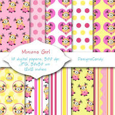 minion wrapping paper minions girl digital paper despicable me inspired characters