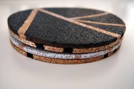 cork coasters diy gold black and white cork coasters