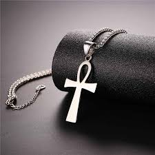 black charm necklace images Ankh cross key of nile charm necklace women men gold rose gold jpg