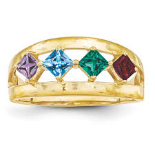 gold mothers ring 14k gold 1 to 4 square stones s ring