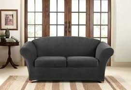 gray slipcover loveseat 1 piece spandex stretch sofa slipcover