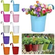 Flower Pots - yaheetech flower pots 10 colors metal iron hanging balcony garden