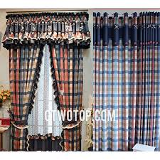 Blue Plaid Curtains Country Blue And Beige Plaid Curtains With Beautiful Lace