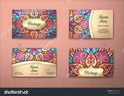 oriental design vector vintage visiting card set floral mandala pattern and