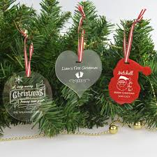 engraved christmas decorations acrylic personalised christmas