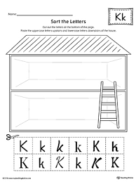 sort the uppercase and lowercase letter k worksheet