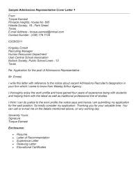 cover letter for admission sample admission counselor cover