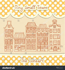 tiny small town lineart cute houses stock vector 351227603
