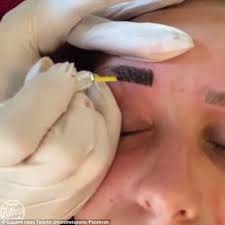 microblading video shows tiny needles being used to create the