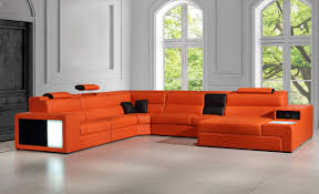 Leather And Microfiber Sectional Italian Leather Sectional Sofa In Orange