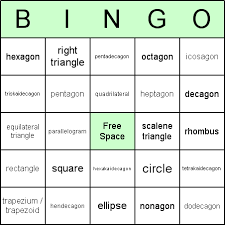 2d shapes bingo cards for geometry and introducing 2 dimensional