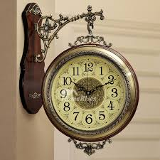 wall clocks room wall clocks wood metal hanging silent round double sided