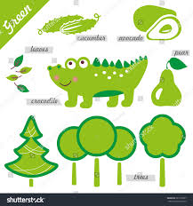set images examples green color kids stock vector 287722637