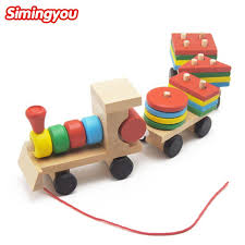 simingyou small wooden train toys dragging three carriage