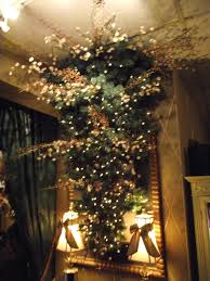 upside down christmas tree in cherry blossoms and copper colored