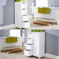 Bathroom Drawer Cabinet White Multi Use Bathroom Storage Unit 4 Drawer Cabinet Cupboard