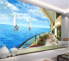 Wall Murals 3d Online Get Cheap 3d Wallpaper Mural Seaside Balcony Aliexpress