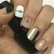 minimalist black and white nail art