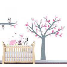 pink and grey jungle wall stickers for nursery with tree wall art pink decals with wall decal tree nursery for girls bedrooms