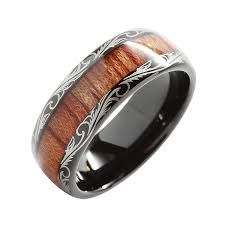 koa wedding bands 8mm tungsten carbide ring koa wood inlay dome edge comfort fit