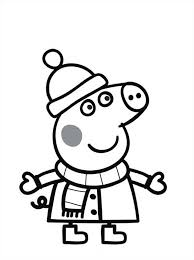 peppa pig wearing winter clothes colouring colouring pics