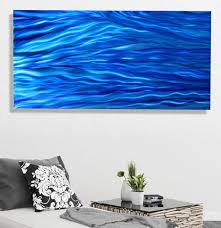 steady stream modern blue metal painting wall art home decor by