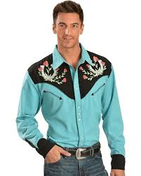 Big And Tall For Mens Clothes Amazon Com Scully Men U0027s Rose And Horseshoe Embroidered Retro