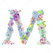 capital letter m of watercolor flowers isolated hand drawn on a