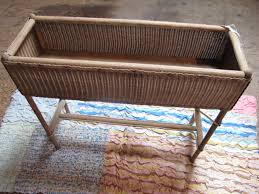 antique wicker plantstand rattan planter box wicker fernery