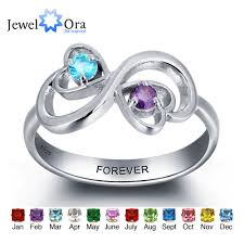 Name Rings Silver Aliexpress Com Buy Personalized Engrave Birthstone Jewelry Heart