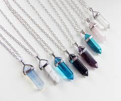 crystal necklace stone images Crystal necklace hexagonal point quartz pendant 90s boho gypsy jpg