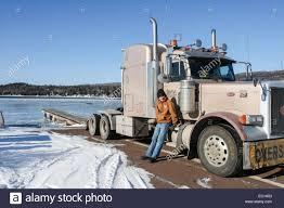 peterbilt semi trucks grand marais minnesota united states the frozen bay with a semi