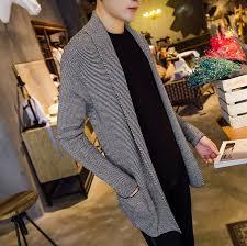 2017 korean fashion male cardigan mens wool shawl collar sweater