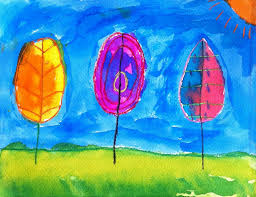 watercolor trees art projects for kids