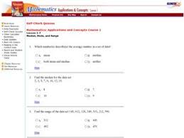 glencoe measures of central tendency 9th 12th grade worksheet