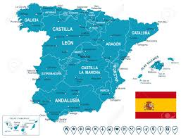 Spain Map World by Spain Map Map Flag And Navigation Labels Illustration