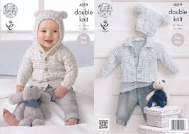King Cole Double Knitting Pattern Baby Cardigans Hat Easy Knit