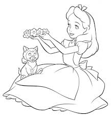 incredible alice in wonderland coloring page to encourage to color