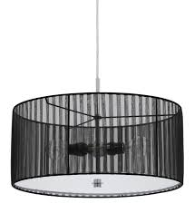 Drum Light Pendant Sheer Black Drum Pendant Light In Fx 3525 1p