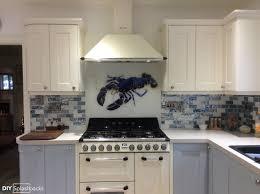 exclusive kitchen designs barbara allen blue lobster glass splashback exclusive to diy