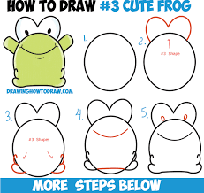 how to draw cute cartoon baby frog from number 3 shape easy step
