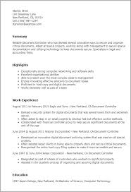 Financial Controller Resume Examples by 28 Resume Sample Document Controller Cv Document Controller