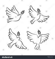 flying dove sketch set dove peace stock illustration 408646240