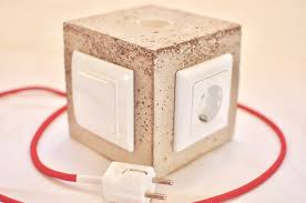 diy concrete lamp with switch and power outlet u2013 kreuz u0026qwertz