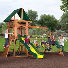 big backyard premium collection charleston lodge wood swing set